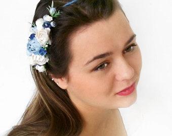 White and Blue Bridal Hair Wreath Blue Wedding Crown Festival Hair Crown Blue Bridal Flower Crown Bohemian style crown