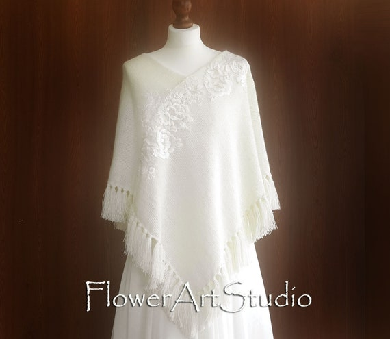 772f1bc933 Ivory Bridal Poncho Wedding Poncho Wool Poncho Knitted | Etsy