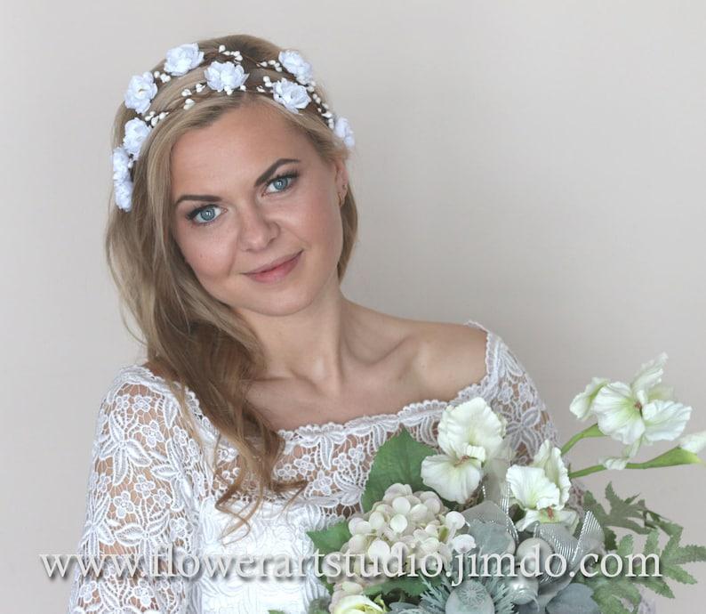 Feminine Floral Crown Bridal Headband White or Ivory Bridal Flower Crown White Bridal Hair Accessories Flower Girl Hair Wreath.