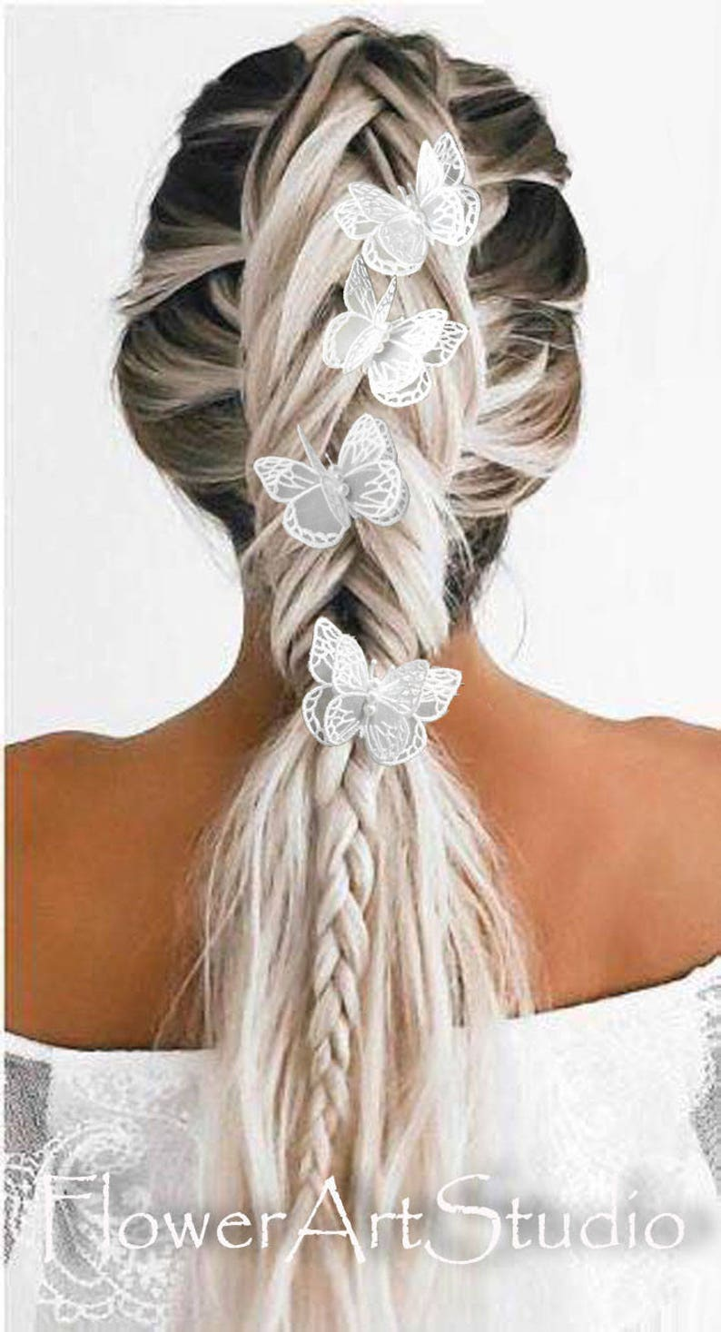 Flower Girls Hair Pin Bridal Hair Accessories Off White Butterfly Head Piece Butterfly Hair Pin Ivory Lace Butterfly Wedding Lace Clip