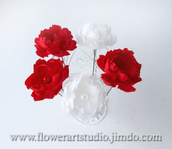 Red And White Flower Hair Pins Wedding Flowers Five Small Etsy