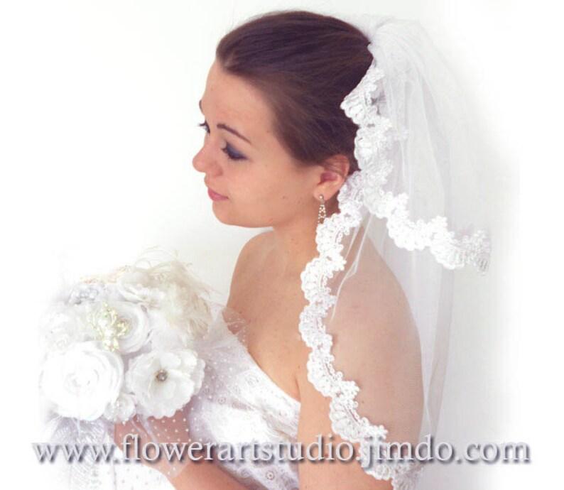 610856763 Corto velo de novia velo de Novia de encaje 2 capas velo
