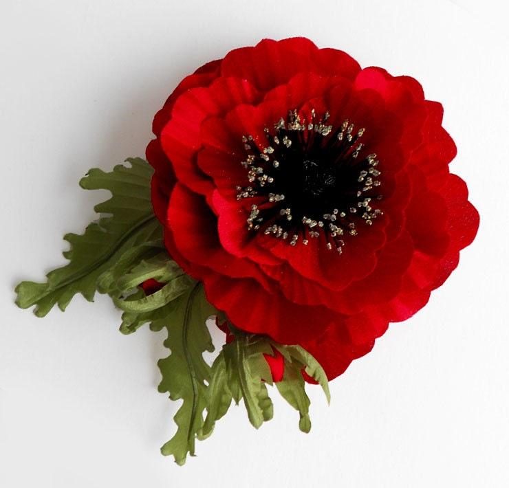 8b038fdac0ba2 Red fabric flower brooch silk flower bridal brooch flower