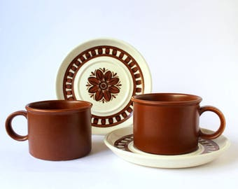 Vintage Midwinter Stonehenge Cup and Saucer sets, Tea Cups. Stoneware Mugs. English Pottery, Jessie Taite. Rare Medallion Pattern.1970s, 70s