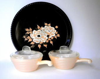 Vintage Ramekins With Lids, Fire King, Anchor Hocking, Milk Glass, 1960s Lidded Serving Bowls in Copper Tint, Bee Hive Shape.