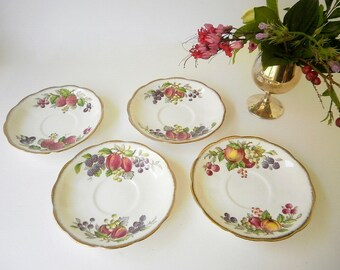 Vintage Serving Dishes/Decorative Plates.Shabby Chic Decor. Fine Bone China Staffordshire Pottery. Queen Anne.Rare Fruit Series.