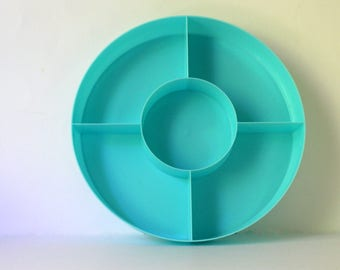 Vintage Relish Tray.Craft Organizer.Office Organization. Plastic Divided StorageTray. Baby Room Decor. Serving Tray.Turquoise, Aqua Blue.