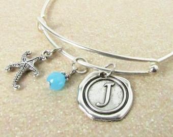 Starfish Bracelet, Charm Bracelet, Adjustable Bracelet, Personalized Bangle Bracelet, Initial Bracelet, Starfish Bangle, Ocean Jewelry