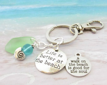 Pale Blue Dreaming of the Sea Sea Glass Keyring