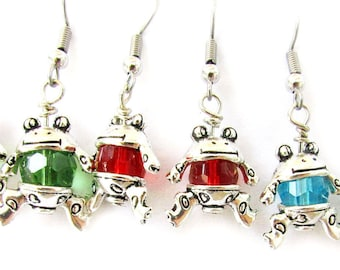 Frog Earrings, Crystal Frog Earring, Cute Earrings, Frog Dangle Earrings, Blue Earrings, Animal Earrings, Fun Earrings, Kid's Earrings