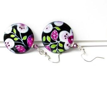 Purple Earrings, Flower Earrings, Hippie Earrings, Boho Earrings, Lilac Earrings, Retro Earrings, Dangle Earrings, Boho Jewelry,