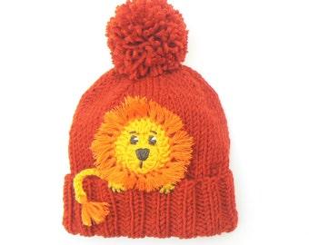 Lion Hat, Winter Hat, Beanie Hat, Girls Hat, Knit Hat, Pom Pom Hat, Orange Hat, Kids Outfits, Animal Hat, Cute Kids Clothes, Boys Hats