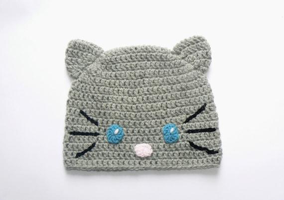 Häkelmütze Tier Hut Katzenmütze Häkeln Beanie Katzen Ohren Etsy