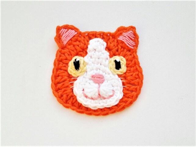 Crochet Cat Cat Applique Crochet Applique Sew On Applique Etsy