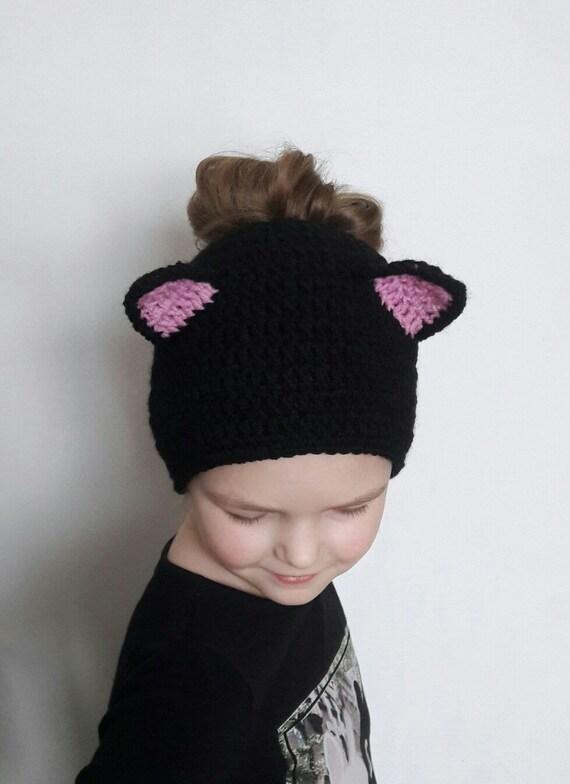 Schwarze Katzenmütze Chaotisch Bun Hut Katzen Ohren Mütze Etsy