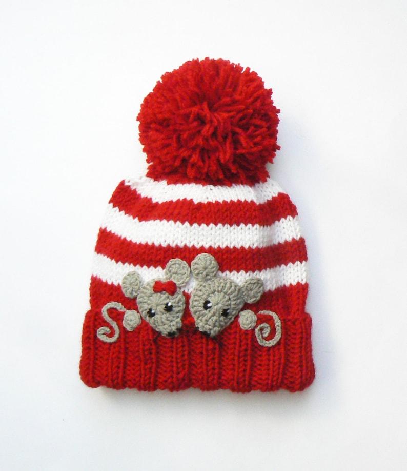 534b16015 Knit Hat, Kids Winter Hat, Knit Beanie Hat, Pom Pom Hat, Beanie Hat, Mice  Applique, Hand Knitted Hat, Toddler Girls Hat, Animal Hat, Ski Hat