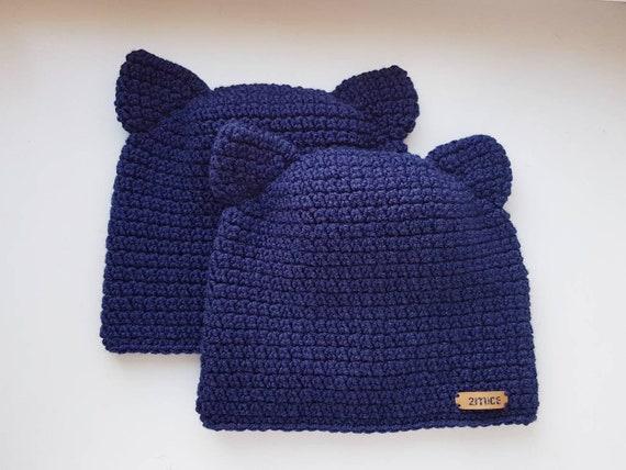 Katzenmütze Katzen Ohren Mütze Navy Blau Hut Katze Beanie Etsy