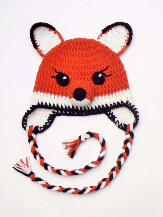 7438a23ed80 Crochet Fox Hat Kids Winter Hat Toddler Hat Cute Hat