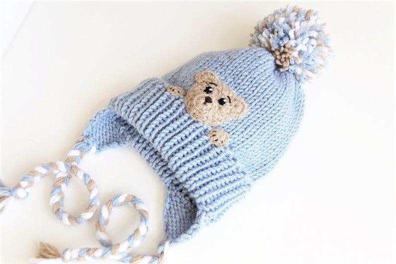 baf3e9d973f Teddy Bear Hat Toddler Winter Hat Kids Hat Earflap Hat Pom