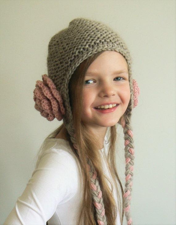 Flower Hat Cute Girls hat Knit Hat Winter Outfit Teens  8df0b920909