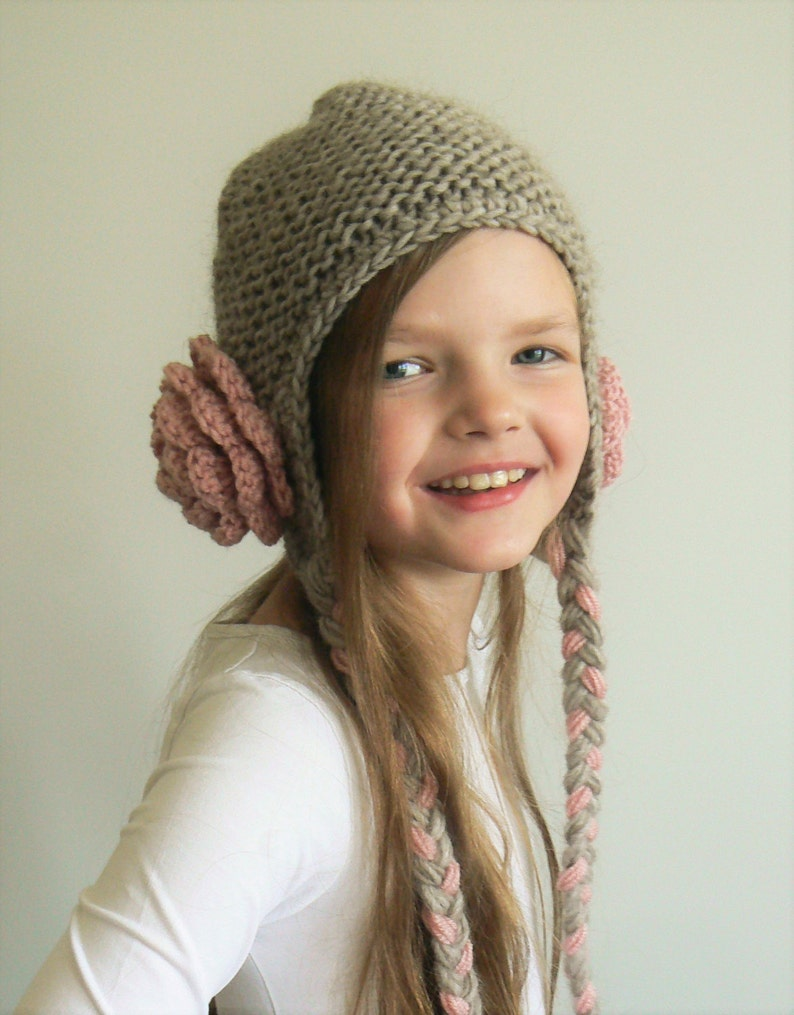 03609851d537f Flower Hat Cute Girls hat Knit Hat Winter Outfit Teens