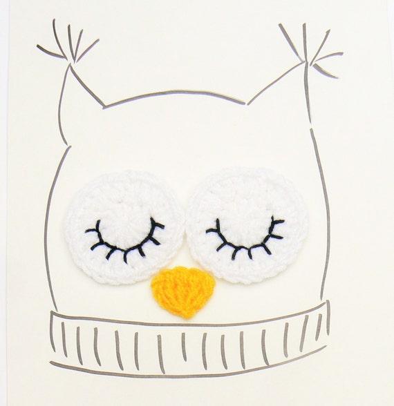 Ojos de buho Applique del ganchillo Crochet búho sombrero | Etsy