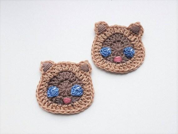 Cat Applique Kitty Appliques Crochet Cat Crochet Appliques Etsy