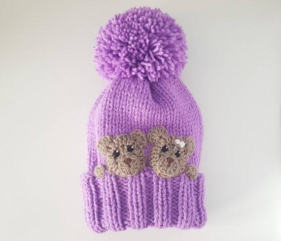 Knit Winter Hat Bear Hat Kids Hat Pom Pom Hat Winter  6903e84dab0