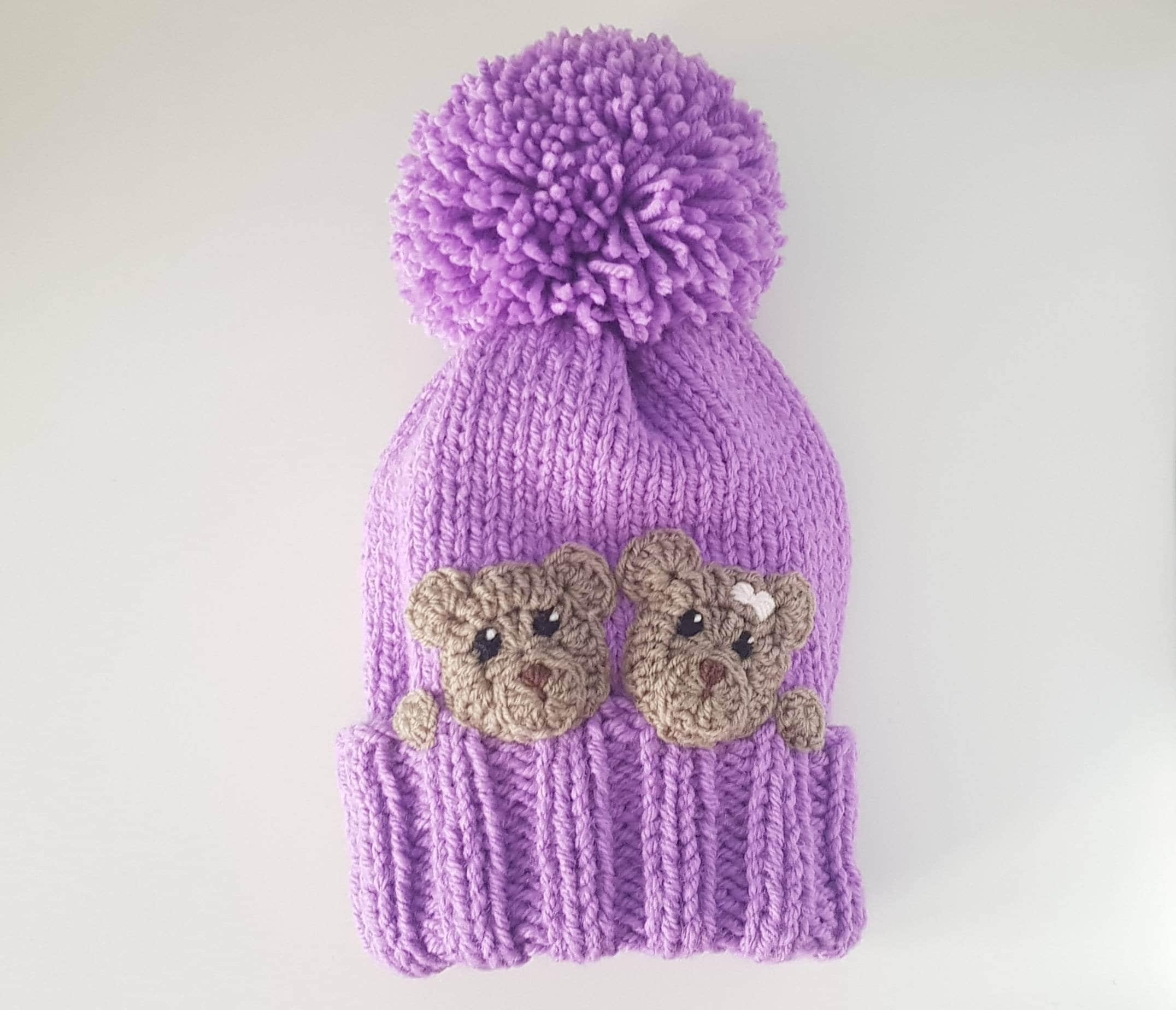 11273b16a Knit Winter Hat, Bear Hat, Kids Hat, Pom Pom Hat, Winter Outfit, Cute Girls  Hat, Beanie Hat, Knit Beanie, Animal Hat, Knit Kids Hat