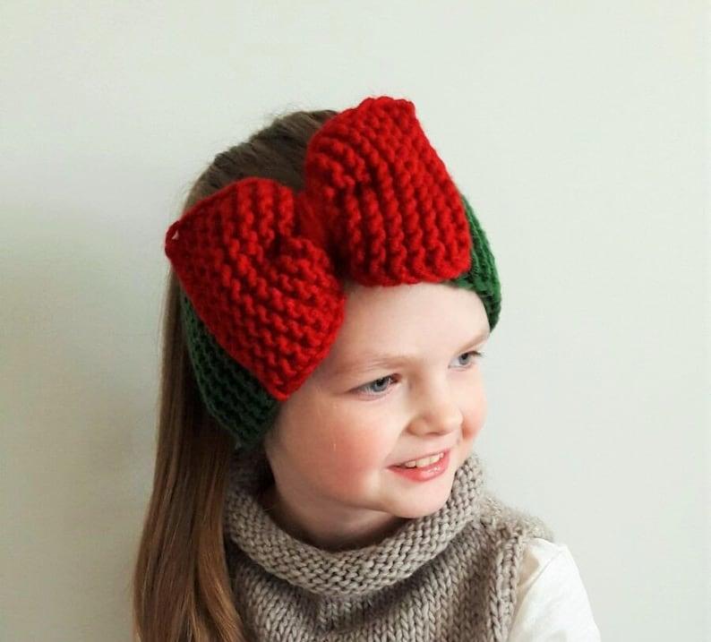 Big Bow Headband Christmas Outfit Ear Warmer Knit Headband  fb9bd2b6ac61
