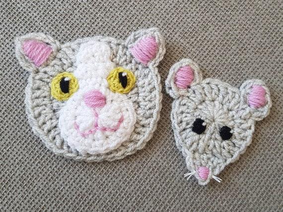 Katz und Maus, häkeln Applikationen häkeln Tiere, graue Maus, Katze Applikationen, Tiermotive, Sewnon Applikationen, Kinderbekleidung,