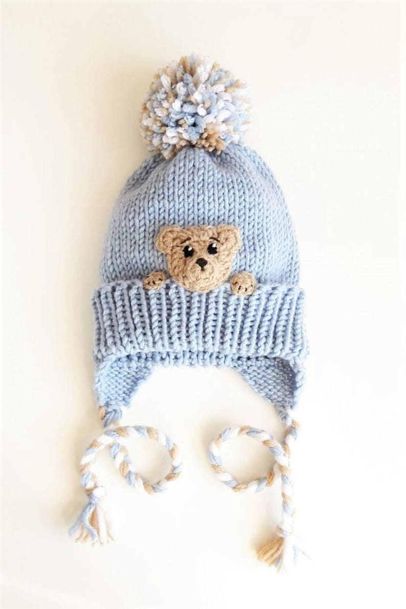 db24de33caf03a Teddy Bear Hat Toddler Winter Hat Kids Hat Earflap Hat Pom | Etsy