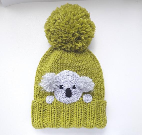 Koala chapeau chapeau chapeau dhiver Pom Pom chapeau   Etsy 650097b3c7b