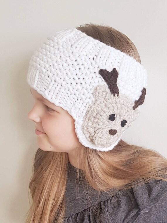 Punto Earwarmer traje de Navidad sombrero de Reno diadema | Etsy