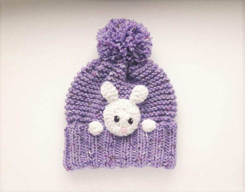Bunny hat Rabbit Hat Knit Kids Hat Pom Pom Hat Animal Hat  4fe685b292d