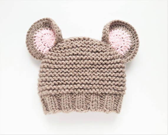Mouse Hat, Knit Mouse Hat, Mouse Ears, Animal hat, Mouse Beanie, Hat with  Ears, Winter Hat, Cartoon Hat, Kids Outfit, Carnival Hat, Funy Hat