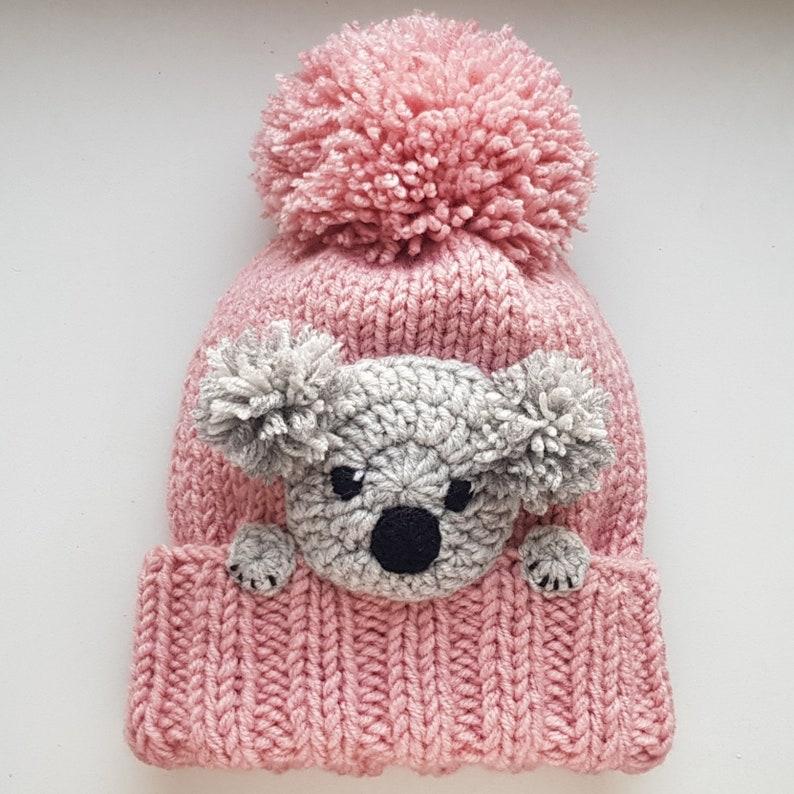 3d674903 Koala Hat Knit Hat Winter Hat Pom Pom Hat Kids Outfit | Etsy