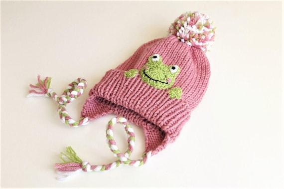 Kids Winter Hat Frog Hat Earflap Hat Knit Pink hat Pom Pom  eb4ce0c7c5a