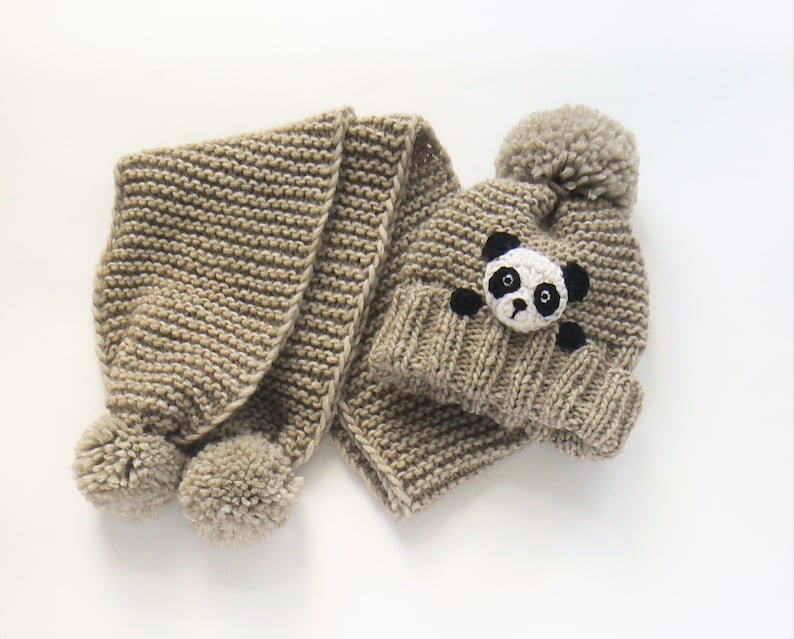bb1927963cb Winter hat and Scarf Kids Outfit Panda Hat Knit Hat
