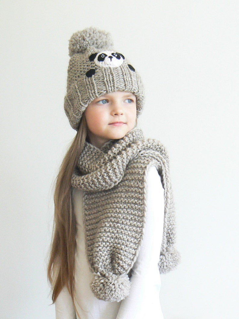 2db0c82fff7 Winter hat and Scarf Kids Outfit Panda Hat Knit Hat