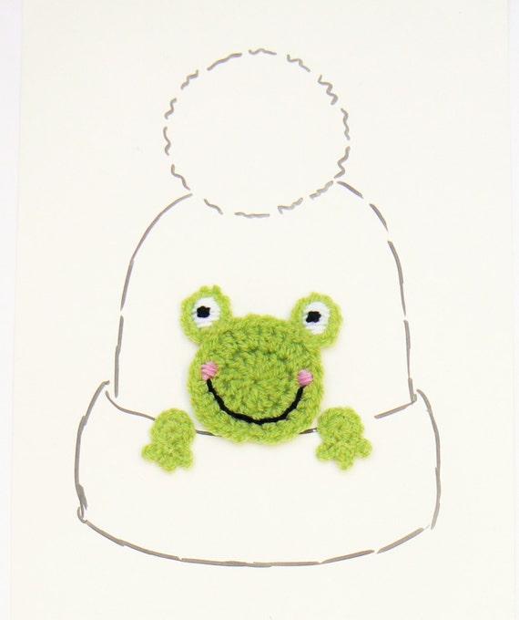 Apliques de rana rana Crochet apliques de sombrero motivo | Etsy