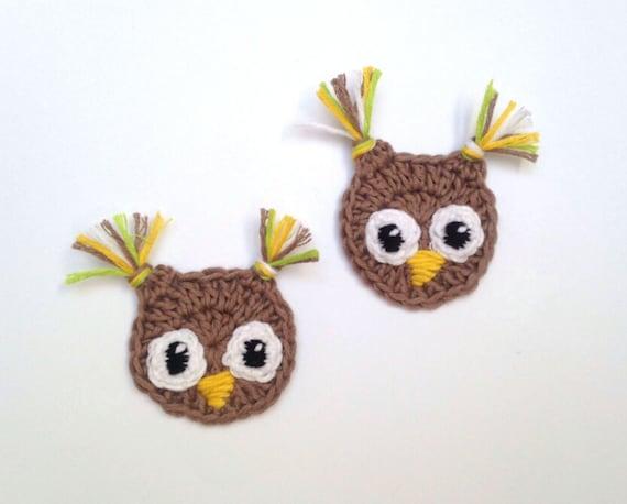 Crochet owl crochet applique bird appliques woodland etsy