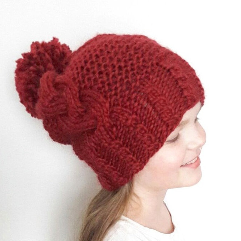 4f1af394e63 Cable Knit Hat Slouchy Beanie Winter Hat Pom Pom Hat Kids