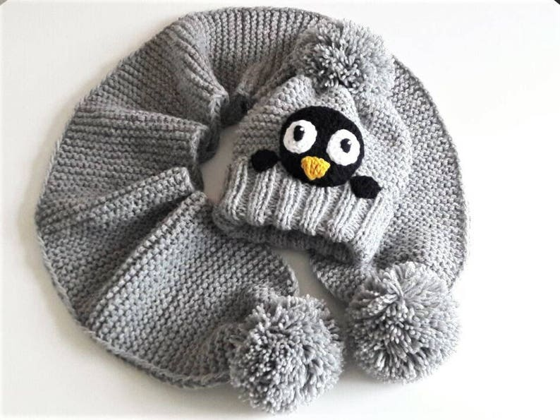 c7807db86e9 Hat and Scarf Winter Hat Penguin Hat Winter Set Bobble