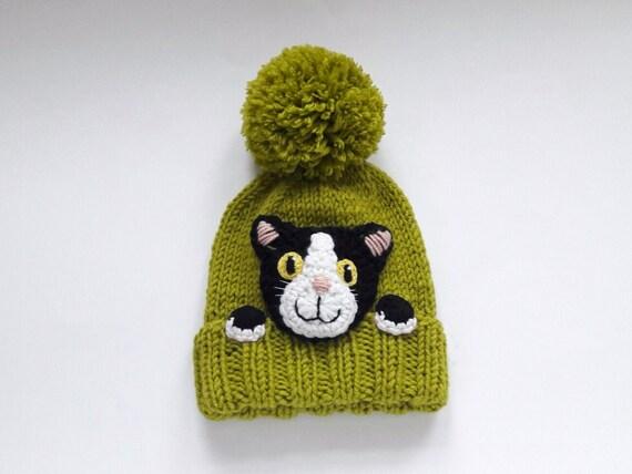 85113d883fac Kitty chapeau tuque tricot chat chat amoureux cadeau Pom   Etsy