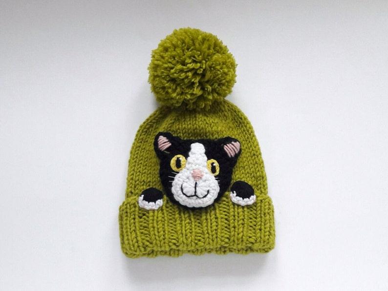 77a47fc26af Kitty chapeau tuque tricot chat chat amoureux cadeau Pom