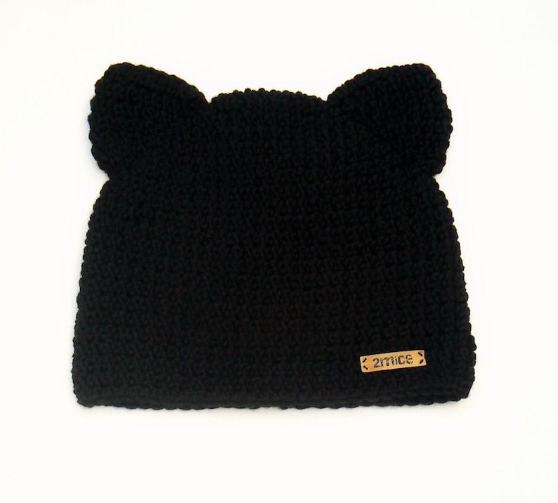 Crochet sombrero de gato gato gorro sombrero del oído de  f3a4a4e3cbb