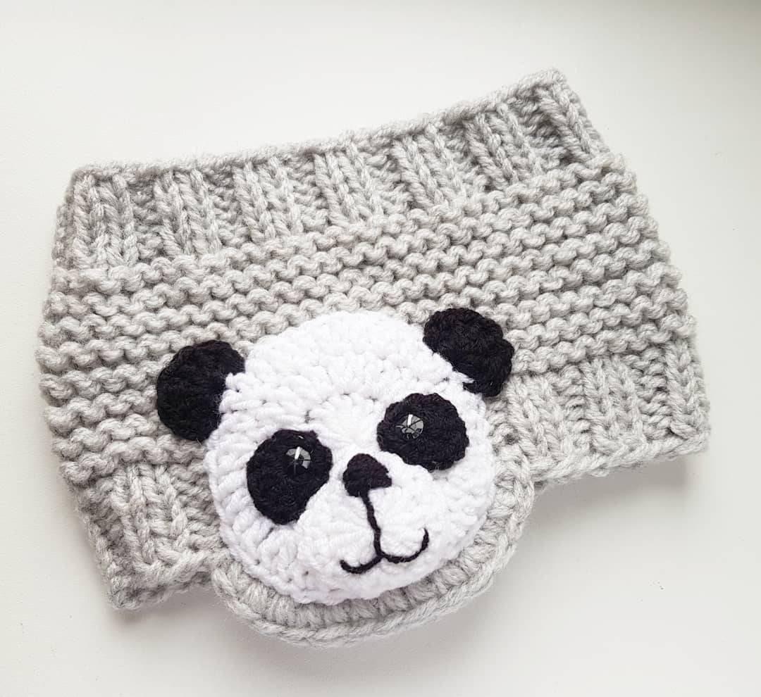 Panda diadema diadema de punto calentador de oído abrigo de | Etsy