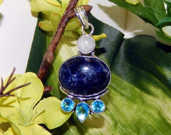 STUNNING WA MARID Djinni inspired vessel - Handcrafted Sodalite Moonstone Blue Topaz pendant necklace