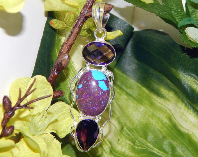 DUO Archangel Metatron & Sandalphon inspired vessel - Handcrafted Purple Turquoise pendant necklace